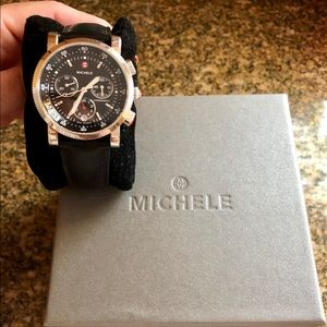 Michele sport sail black dial 38mm watch